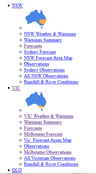 Correct Example of SCO_A3 with CSS Off. Links are listed top to bottom: NSW, NSW's sublinks, VIC, VIC's sublinks, QLD.