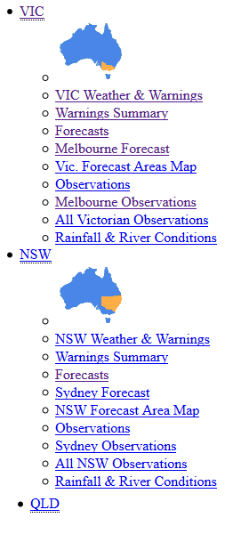 Incorrect Example of SCO_A3 with CSS Off. Links are listed top to bottom: VIC, VIC's sublinks, NSW, NSW's sublinks, QLD.