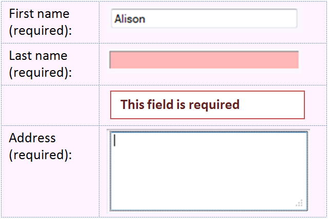 Incorrect Example of SCO_A9. The error message 'This field is required' appears above current focus.