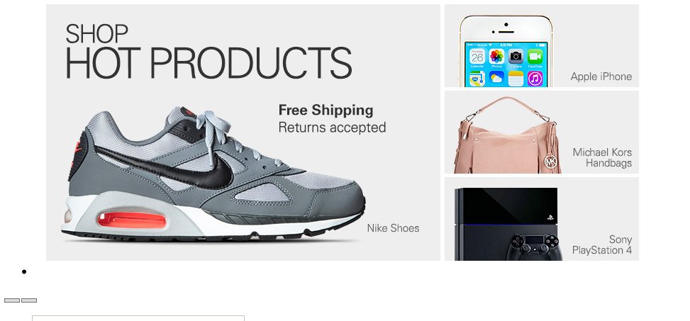 With style sheets disabled all the previous content has disappeared and there is an image of a running shoe and the text 'Shop Hot Products'. Visible is also an image of an iPhone, Michael Kors handbags and Sony Playstation 4.